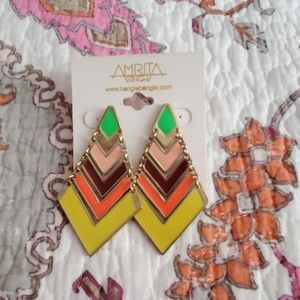 🍋 Amrita Singh Chevron Earrings Mustard/Lime NEW
